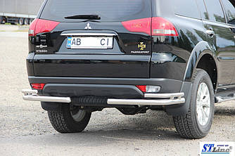 Задняя защита AK003-Double (2 шт, нерж) - Mitsubishi Pajero Sport 2008-2015 гг.