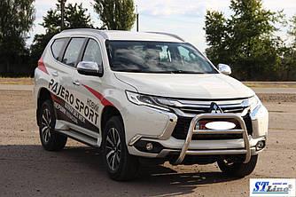 Кенгурятник WT022 (нерж) - Mitsubishi Pajero Sport 2015+ гг.