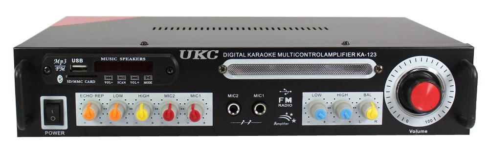 Підсилювач звуку UKC AK-123 2x150W Bluetoth з функцією караоке