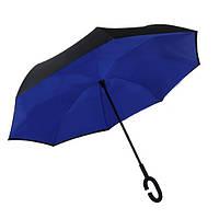 Зонт обратного сложения Up-Brella Сапфировый-синий + чехол , фото 1