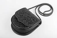 Маленькая тисненая черная сумочка из натуральной кожи, авторская сумочка, фото 1