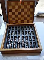 Шахматы металлические 36*36 см на деревянной доске