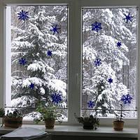 Набор новогодний Снежинки (комплект наклеек на стену, виниловые стикеры на окно)