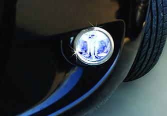 Накладки на противотуманки нижняя модель (2 шт, нерж.) - Peugeot Bipper 2008+ гг.