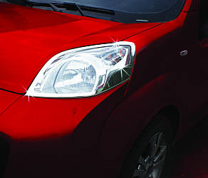 Накладки на фары (2 шт, нерж) - Peugeot Bipper 2008+ гг.
