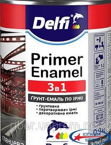 Грунтовка эмаль по ржавчине 3 в 1, серая Delfi (0,9 кг)
