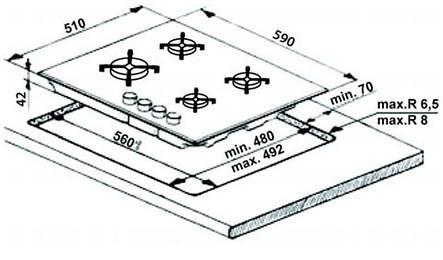 Варочная поверхность Whirlpool GOR 6414/WH/ газ на стекле/газ.контроль/электроподжиг/чугунная решет, фото 2
