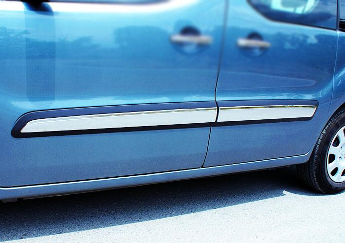 Молдинг дверной (4 шт, нерж) - Peugeot Partner Tepee 2008-2018 гг.