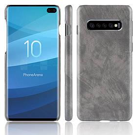 Чехол накладка для Samsung Galaxy S10 Plus с кожаной поверхностью, Premium Vintage, серый