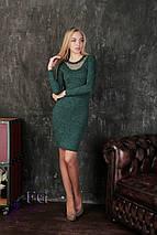 Демисезонное платье в обтяжку до колен с декоративным декольте черное, фото 3