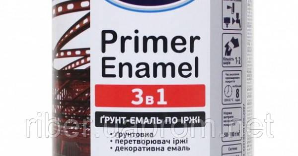 """Грунт-эмаль по ржавчине 3 в 1 ТМ """"Delfi"""",  темно-коричневая  (0,9 кг), фото 2"""