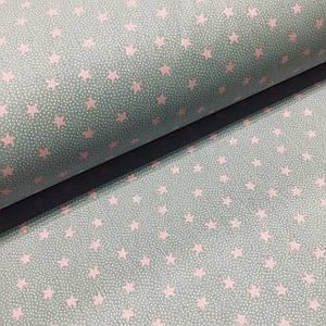 Ткань поплин розовые звездочки на сером (ТУРЦИЯ) ОТРЕЗ (размер 0,9*2,4 м)