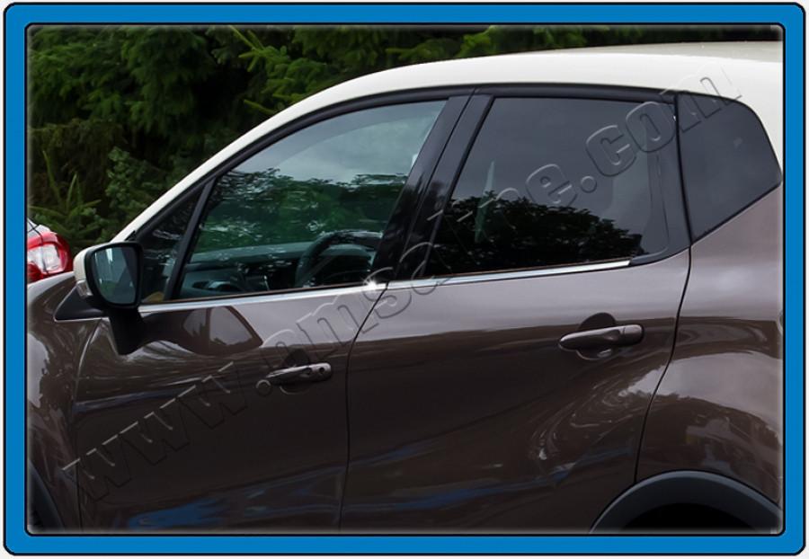Окантовка вікон (4 шт, нерж) - Renault Captur 2013+ рр.