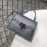Женская перламутровая маленькая сумка в стиле Валентино серая, фото 1