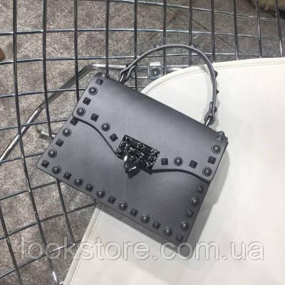 Женская перламутровая маленькая сумка в стиле Валентино серая