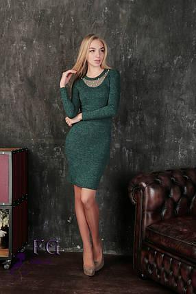 Модное платье миди в обтяжку длинный рукав зеленое, фото 2