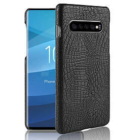 Чехол накладка для Samsung Galaxy S10 Plus пластик и искусственная кожа, Крокодиловая кожа, черный
