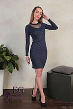 Стильное платье прямого кроя миди сетка в области декольте темно-синее, фото 3