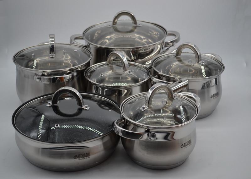 Набор кастрюль нержавеющих BN-212-12 пр: Ковш 2.1Лтр ,  Кастрюли 2.1 , 2.9 , 3.9 , 6.5 лтр. и сковорода Ø24