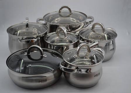 Набор кастрюль нержавеющих BN-212-12 пр: Ковш 2.1Лтр ,  Кастрюли 2.1 , 2.9 , 3.9 , 6.5 лтр. и сковорода Ø24, фото 2