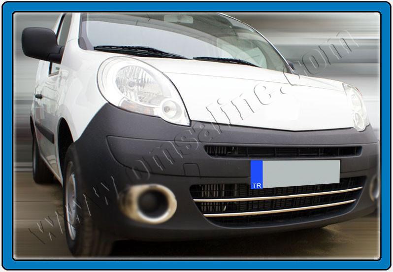 Накладки на передний бампер (2 шт, нерж) - Renault Kangoo 2008+ и 2013+ гг.