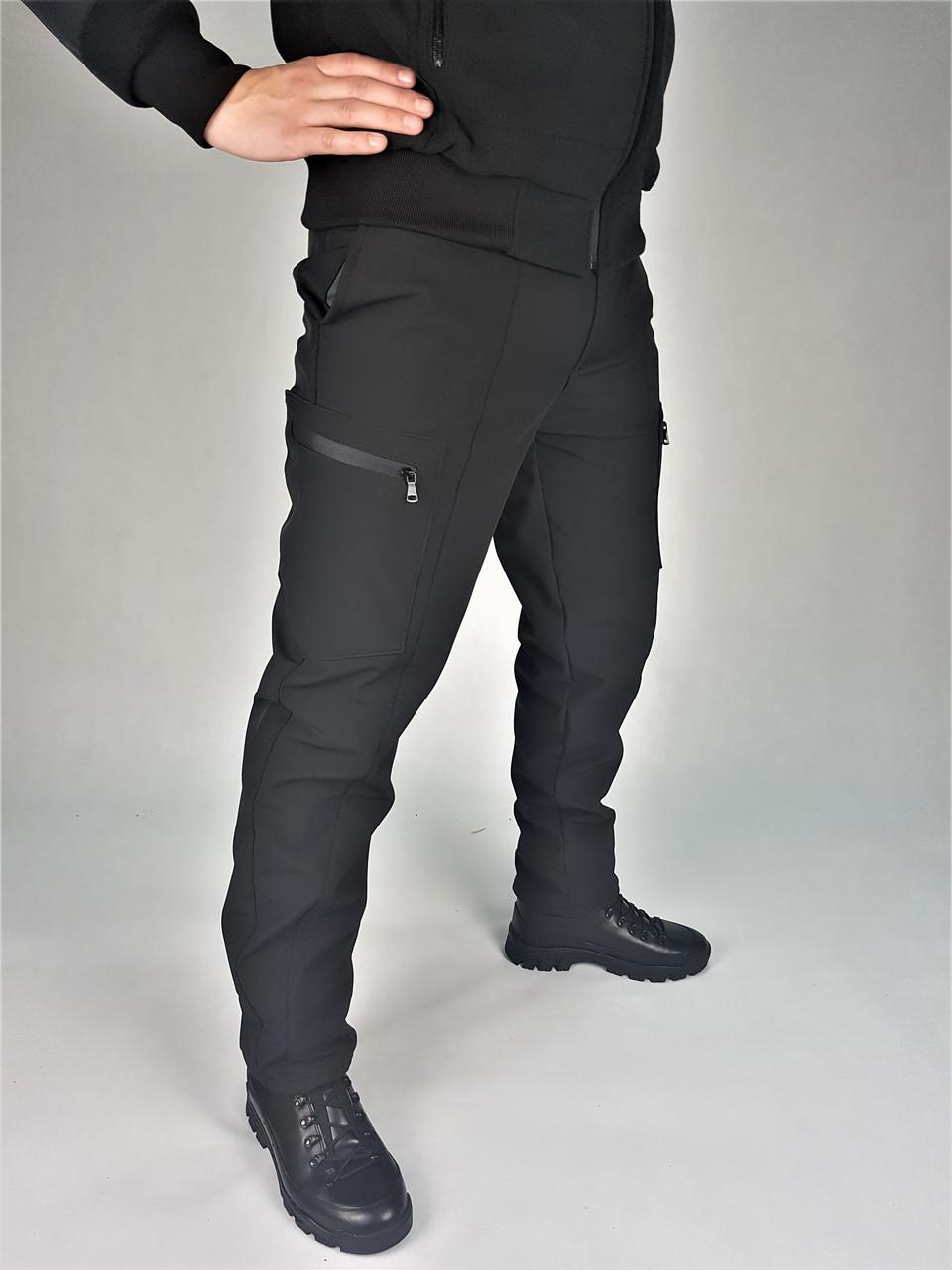 Брюки Софтшелл зимние для полиции черные