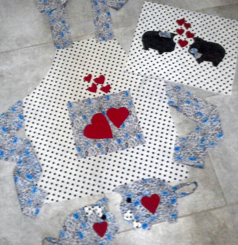 """Фартук прихвати подушка """"Ко Дню Святого Валентина"""" набор для творчества"""