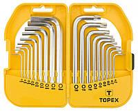 Набор шестигранных ключей Topex 35D952 Ключi шестиграннi HEX i Torx, набiр 18 шт.*1 уп., фото 1