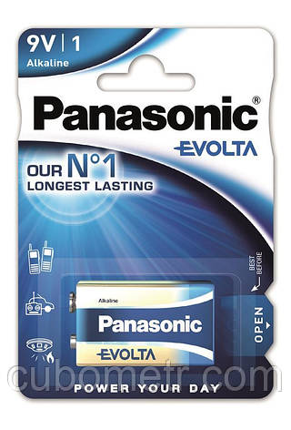 Батарейка Panasonic EVOLTA 6LR61 BLI 1 ALKALINE, фото 2