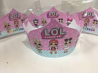 """Корона ляльки """"ЛОЛ/LOL"""" картонні тематичні святкові (Іменинниця / Именинница ) на День народження-"""