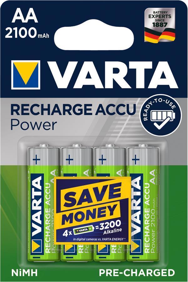 Аккумулятор VARTA RECHARGEABLE ACCU AA 2100mAh BLI 4 NI-MH (READY 2 USE)