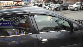 Наружняя окантовка стекол (4 шт, нерж.) - Renault Logan MCV 2008-2013 гг.