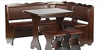 Кухонний куток з простим столом з ДСП/Екошкіра Лорд Пехотін