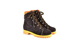 Подростковые ботинки на мальчика натуральная замша синие зимние и демисезонные от производителя KARMEN 133105