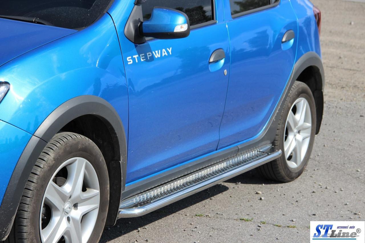 Боковые площадки KB001 (нерж) - Renault Sandero 2013+ гг.