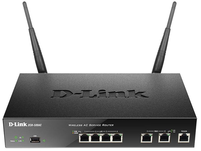 Мультисервисный маршрутизатор D-Link DSR-500AC AC1200, 4xGE LAN, 2xGE WAN, 1xUSB, 1xCons RJ45