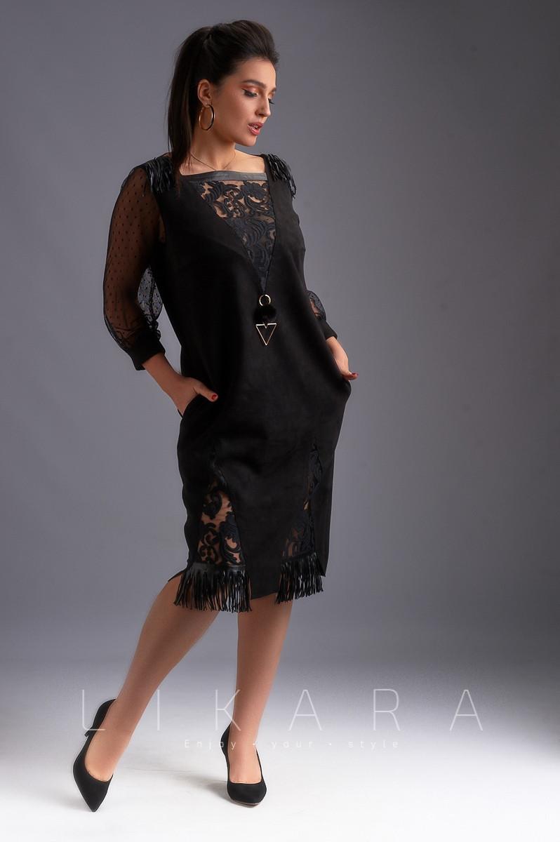 Платье замшевое с кожаной бахромой