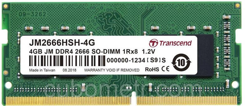 Память Transcend JetRam DDR4 2666 4GB SO-DIMM , BULK, CL 19