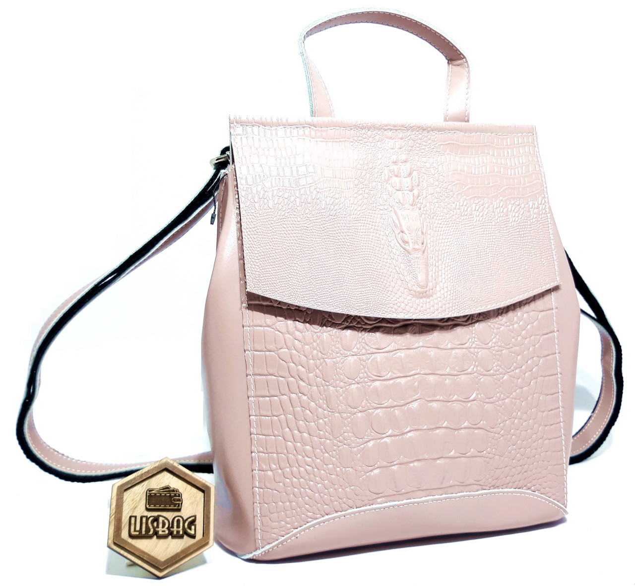 93bb6cb2c685 Женский Нежно-розовый классический кожаный рюкзак-сумка крокодил, новинка