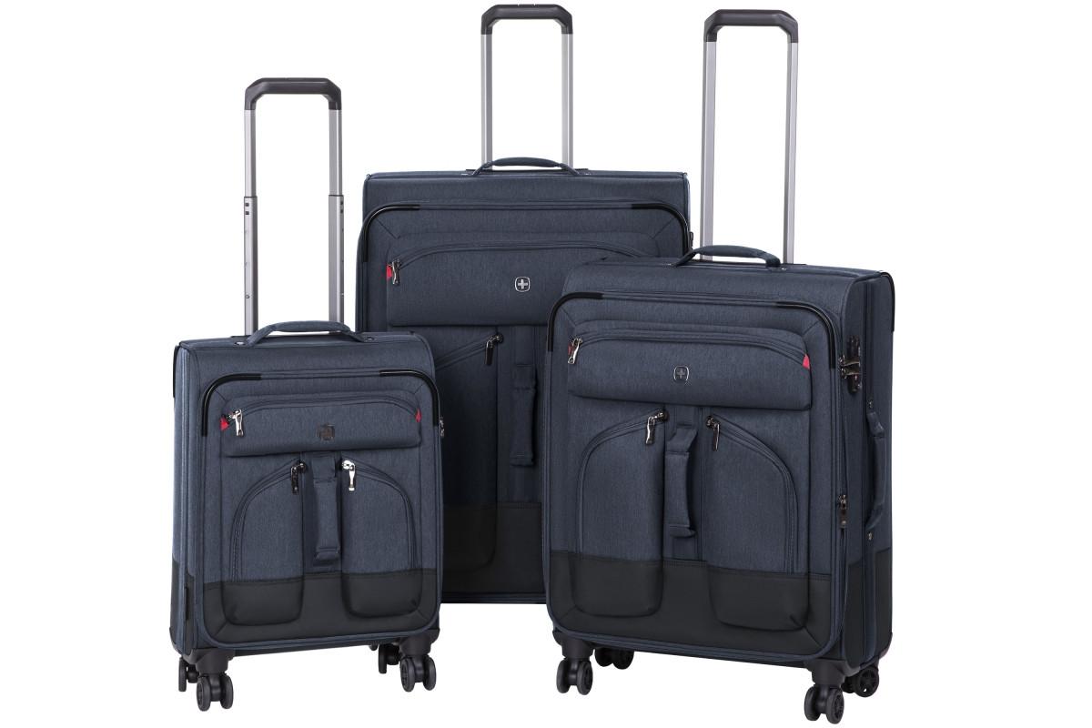 "Набор тканевых чемоданов, Wenger Deputy Set (20""/24""/29""), 4 колеса, тёмно-синий"