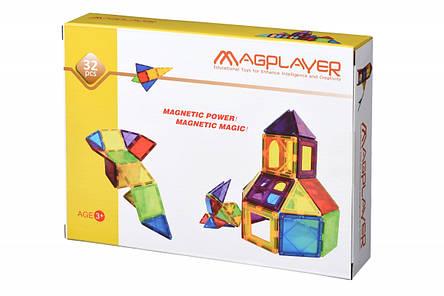 Конструктор Magplayer магнитные плитки 32 эл. MPL-32, фото 2