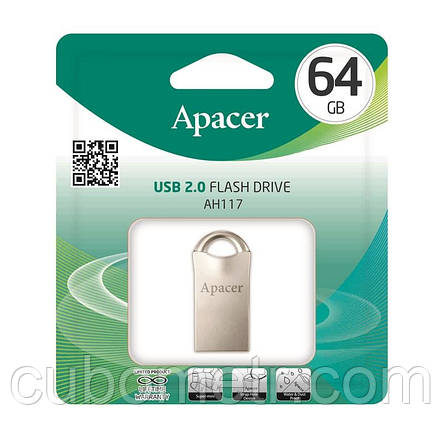 Накопитель Apacer 64GB USB 2.0 AH117 Silver, фото 2