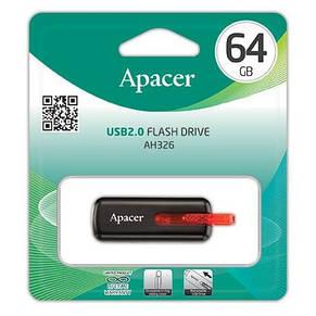 Накопитель Apacer 64GB USB 2.0 AH326 Black, фото 2