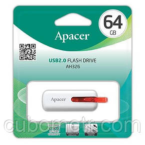 Накопитель Apacer 64GB USB 2.0 AH326 White, фото 3