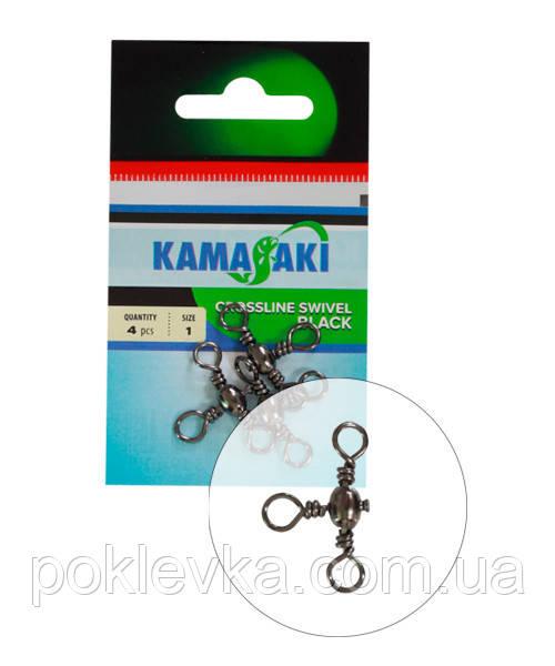 Вертлюг тройной Kamasaki Crossline Swivel Black №4 6 шт (82260004)