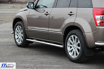 Боковые трубы BB001 (2 шт, нерж) - Suzuki Grand Vitara 2005-2014 гг.