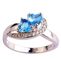 Серебряное кольцо, Сердца, с камнем голубой куб. цирконий, размер 19, фото 1