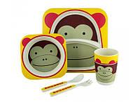 Набор детской посуды Kronos Toys Бамбук Мартышка Майк Разноцветный tps88-8720878, КОД: 147159