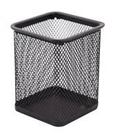 Подставка-стакан для ручек, прямоугольная, металлическая сетка, черный
