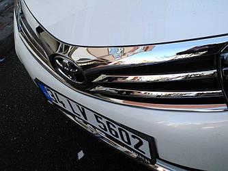 Накладки на решетку радиатора (2013-2016, нерж.) - Toyota Corolla 2013+ гг.